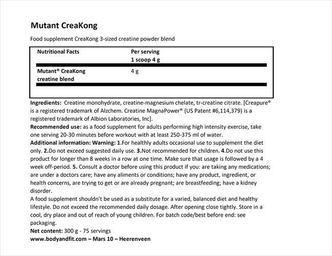 CreaKong Nutritional Information 1