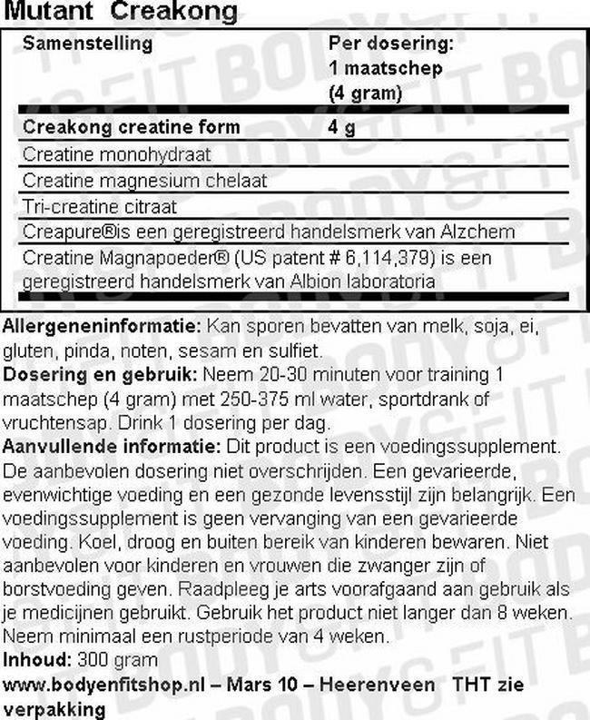 CreaKong Nutritional Information 1