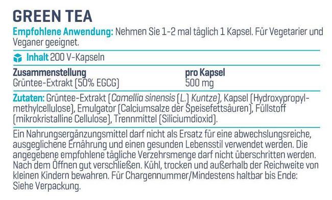 Green Tea - Ultra Pure Nutritional Information 1