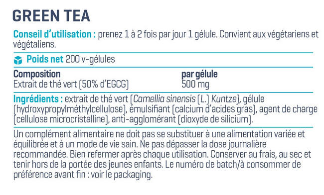 Gélules de thé vert Green Tea Extract Nutritional Information 1