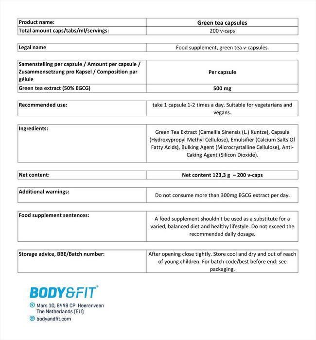 녹차 Nutritional Information 1