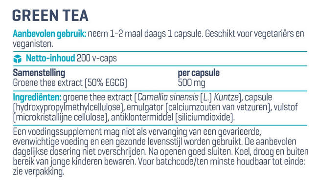 Green Tea - Ultra Pure Nutritional Information 1