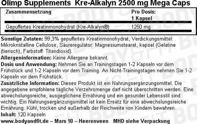 Kre-Alkalyn 2500mg Mega Caps Nutritional Information 1