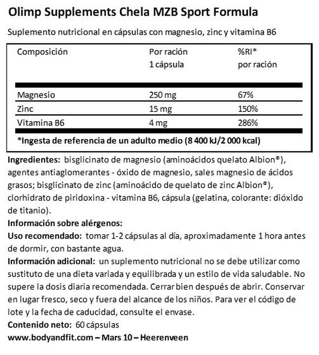 Chela MZB Sport Formula Nutritional Information 1