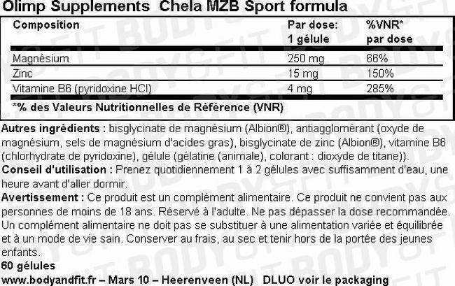 Gélules Chela MZB Sport Formula Nutritional Information 1