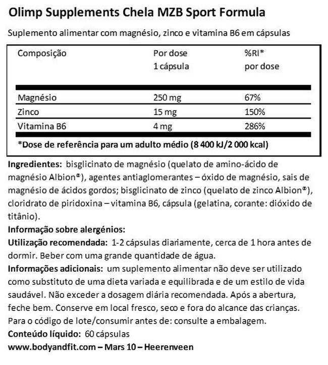 Chela MZB Sport Formula Nutritional Information 1