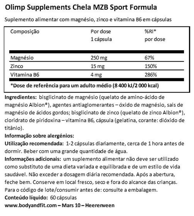 Chela MZB Fórmula desportiva Nutritional Information 1