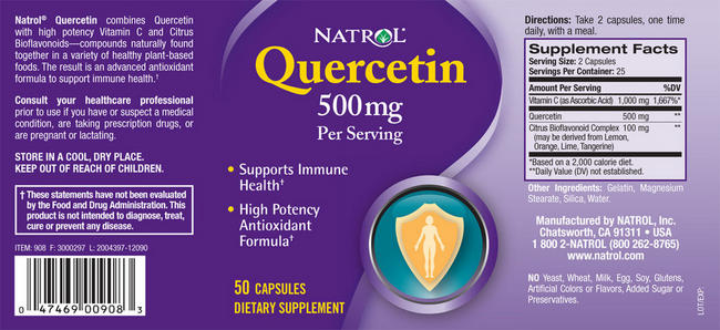 Quercetin, 500 mg Nutritional Information 2