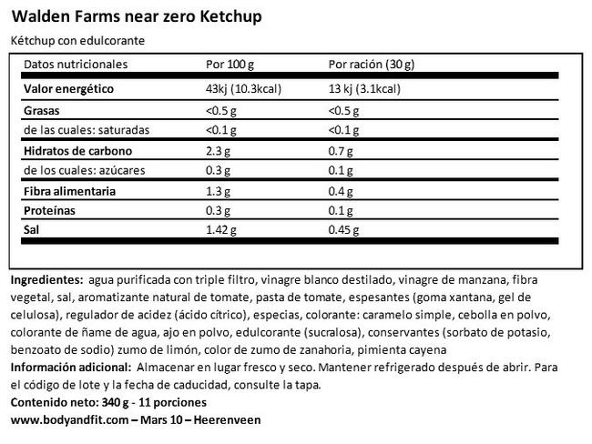 Kétchup Nutritional Information 1