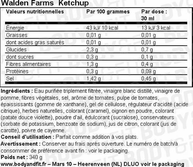 Ketchup Nutritional Information 1