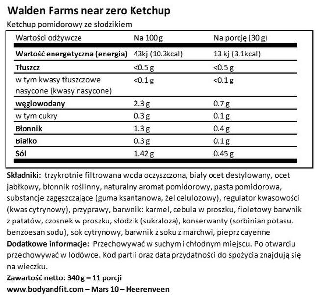 Keczup Nutritional Information 1