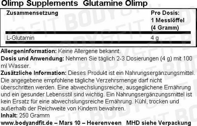 Glutamine Olimp Nutritional Information 1