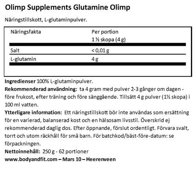 L-Glutamine Olimp Nutritional Information 1