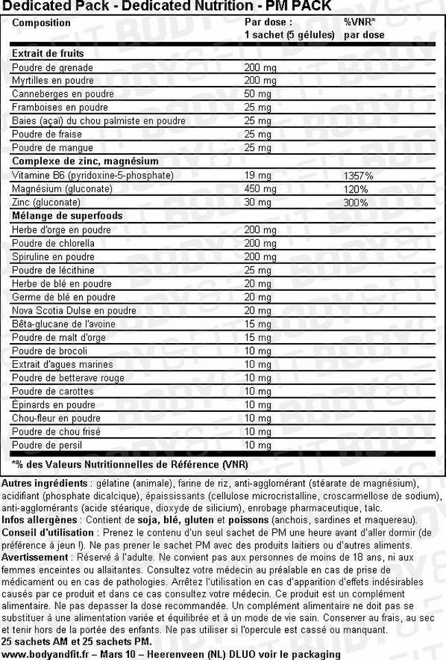 Dedicated Pack Nutritional Information 2