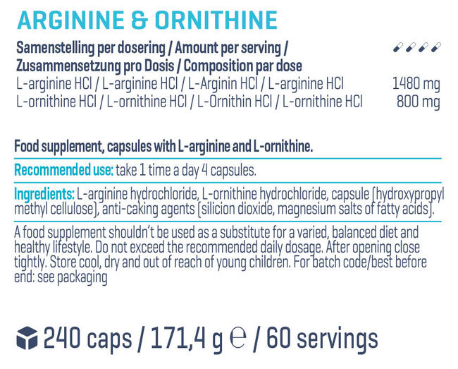 Arginine & Ornithine Nutritional Information 1