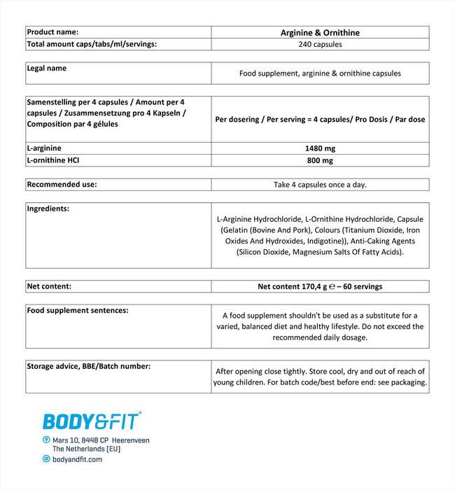 アルギニン&オルニチン Nutritional Information 1