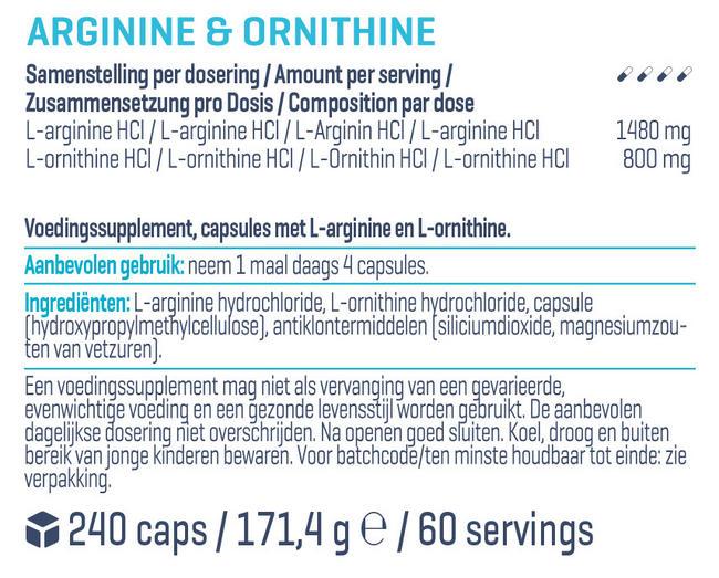 Arginine & Ornithine Premium Nutritional Information 1