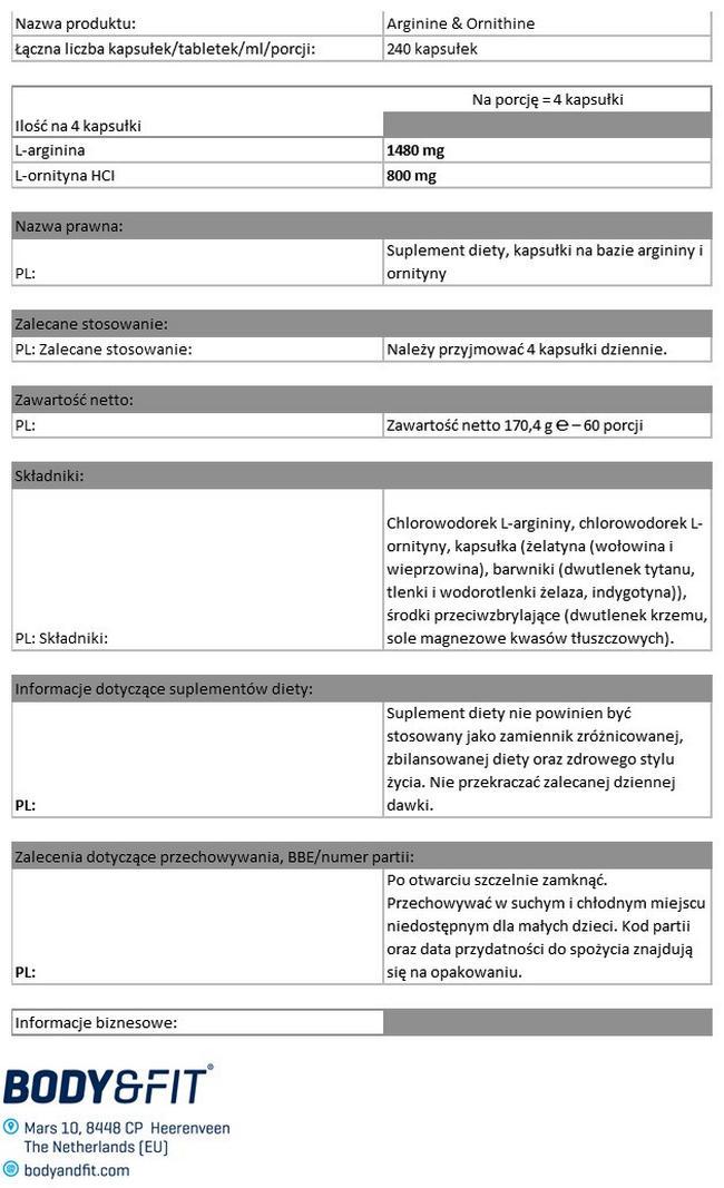 Arginine & Ornithine Nutritional Information 1