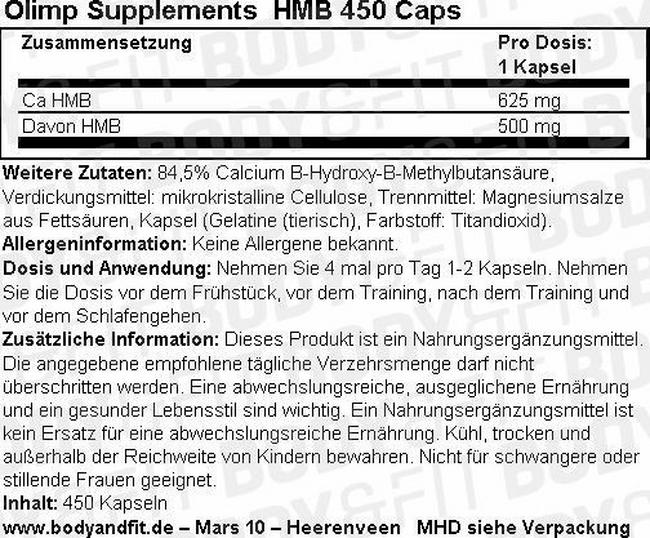 HMB 450 Caps Nutritional Information 1