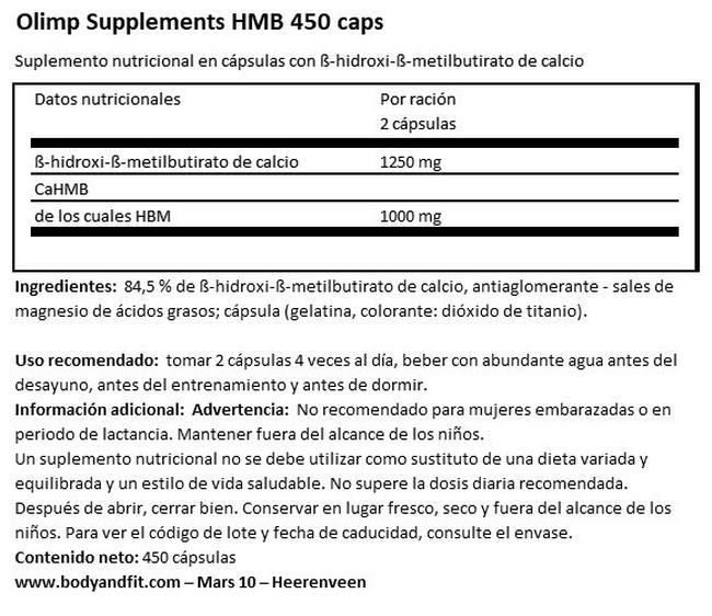 HMB 450 caps Nutritional Information 1