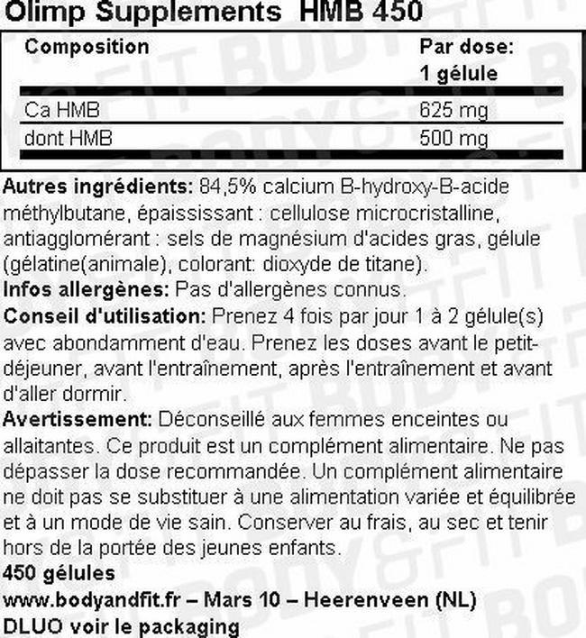 Gélules HMB450caps Nutritional Information 1