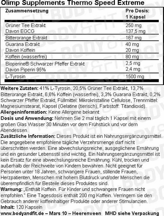 Thermo Speed Extreme Nutritional Information 1