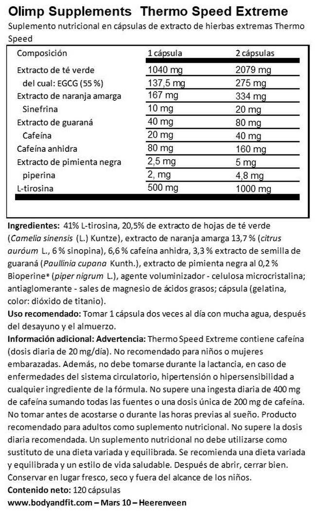 Thermo Speed Extreme (Mega Capsules) Nutritional Information 1