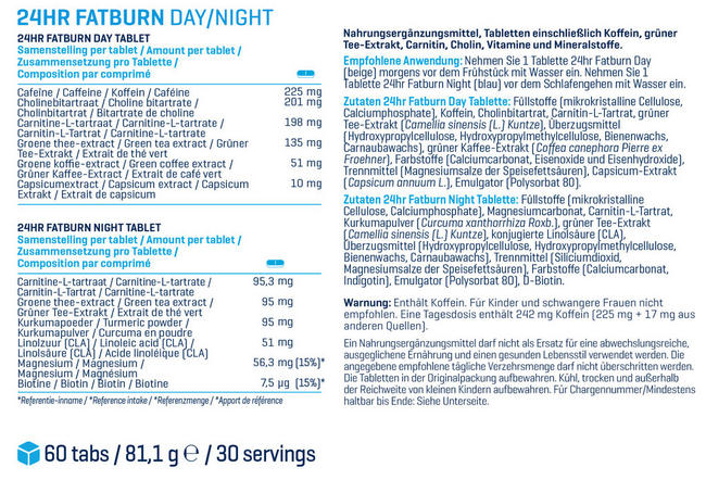 24hr Fatburn Nutritional Information 1