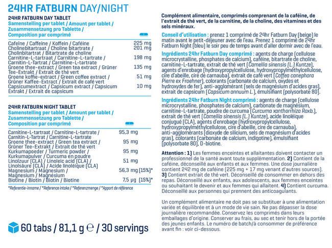 Brûleur de graisses 24hr Fatburn Nutritional Information 1