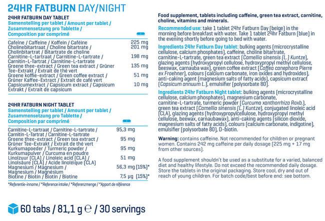 24시간 팻번 (지방 연소제) Nutritional Information 1