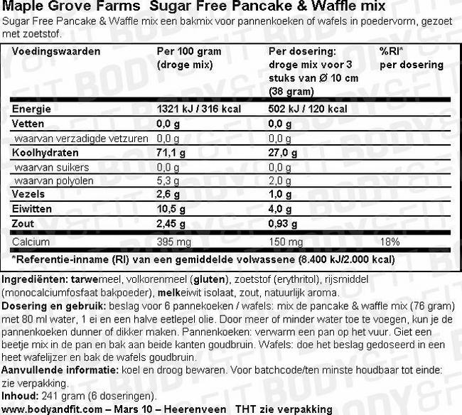 Sugar Free Pancake & Waffle Mix Nutritional Information 1