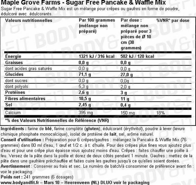 Sugar Free Pancake & Waffle Mix Nutritional Information 2