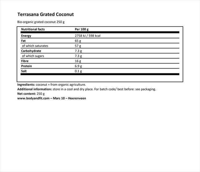 Grated Coconut Nutritional Information 1