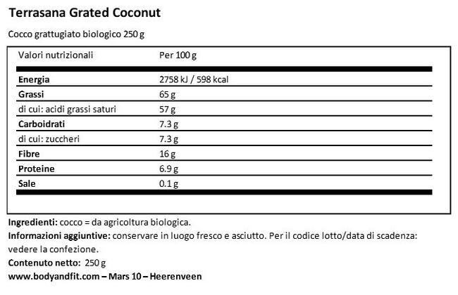 Cocco Grattugiato Nutritional Information 1