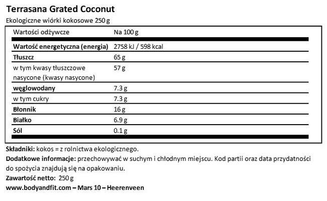 Wiórki kokosowe Nutritional Information 1