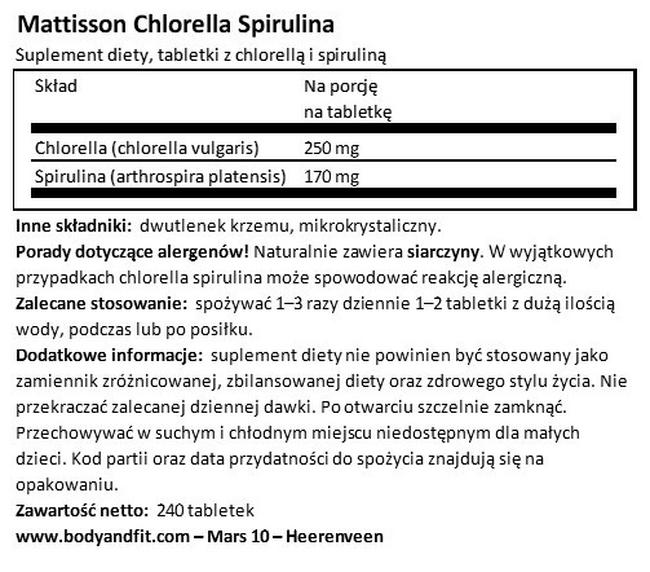 Chlorella Spirulina Nutritional Information 1