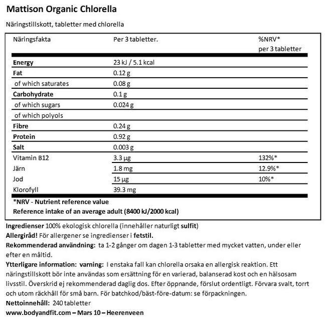 Absolute Chlorella Bio 500mg Nutritional Information 1