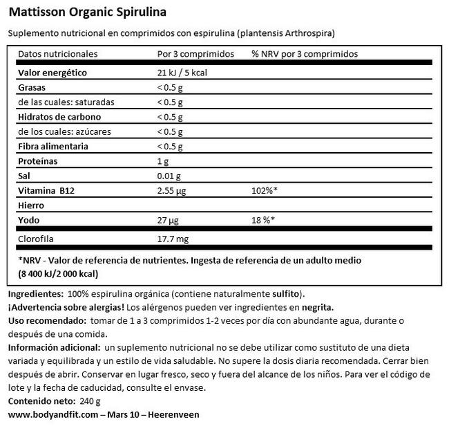 Absolute Spirulina 500 mg Bio Nutritional Information 1