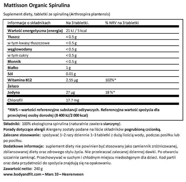 Absolute Spirulina 500 mg Bio Nutritional Information 1