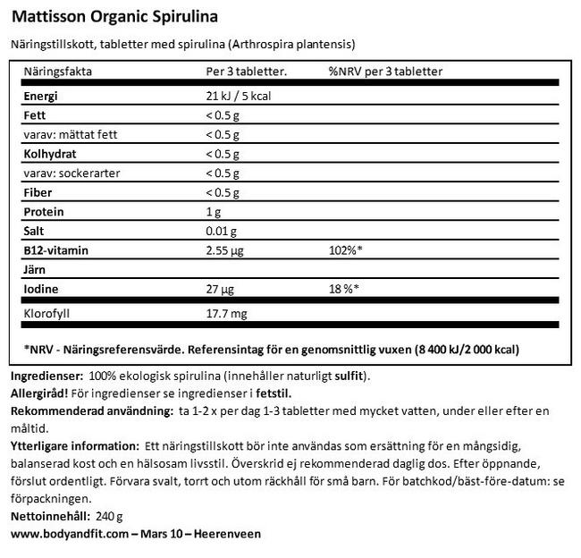 Absolute Spirulina 500mg Bio Nutritional Information 1