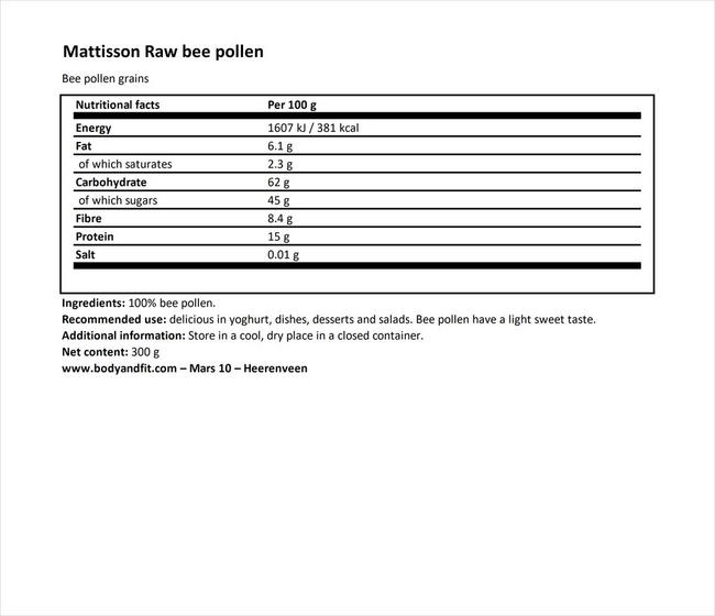 Absolute Bee Pollen Raw Nutritional Information 1