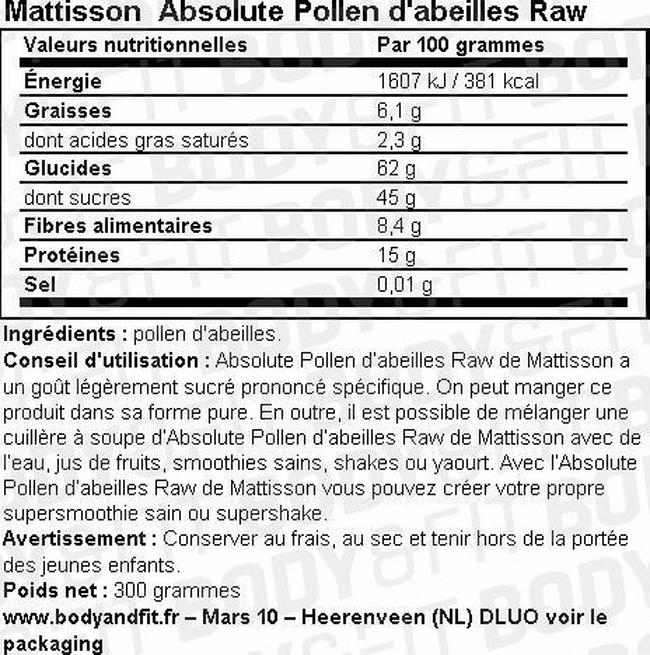 Absolute Pollen d'abeilles Raw Nutritional Information 1