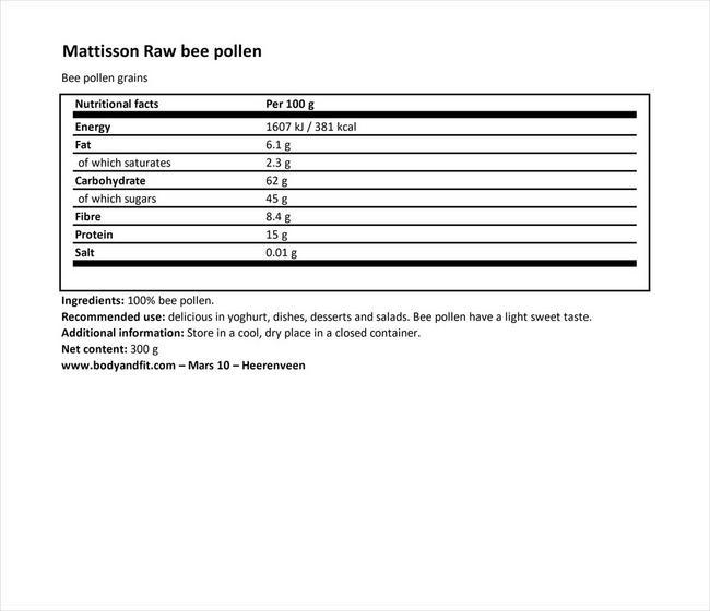 アブソリュートビーポレンロー Nutritional Information 1