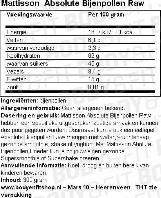 Absolute Bijenpollen Raw Nutritional Information 1