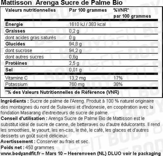 Arenga Sucre de Palme Bio Nutritional Information 1
