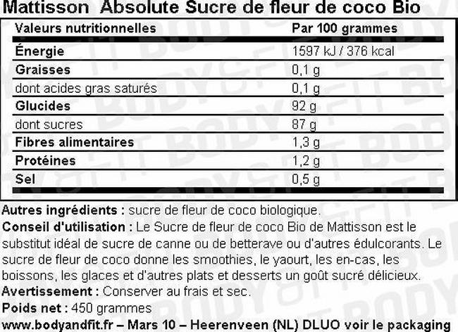 Absolute Sucre de fleur de coco Bio Nutritional Information 1