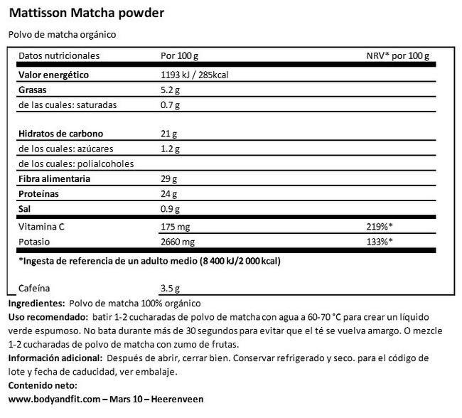 Polvo de matcha Nutritional Information 1