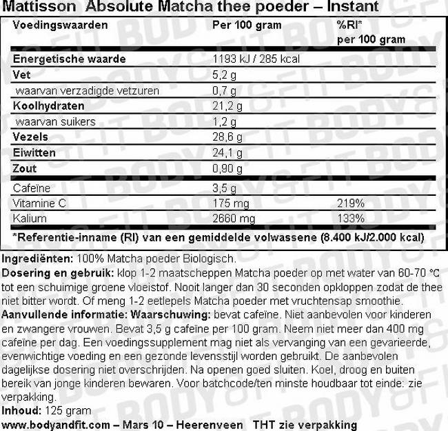 Absolute Matcha thee poeder – Instant Nutritional Information 1