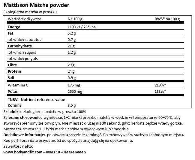 Matcha w proszku Nutritional Information 1