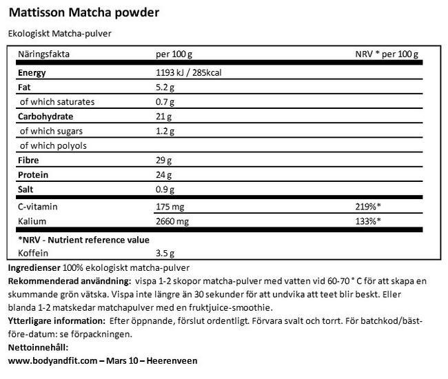 Matchapulver Nutritional Information 1